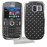 LOVE MY CASE / NEW BLACK Diamond Bling with Chrome Trim Hard Case Cover with LMC Cloth for Nokia Asha 302