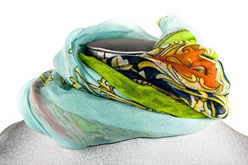 Foulard chal chiffon mujer GIANMARCO VENTURI bufanda motivos azul claro L1237