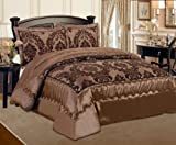 3pcs Luxury Quilted Bed Spread Comforter Set - Double and King 8 colours (Chocolate brown, Double)