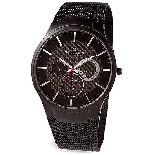 Skagen Titanimum White Label Men's Quartz Watch with Black Dial Analogue Display and Black Titanium Strap 809XLTBB