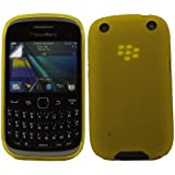 Gel Case Cover Shell And Screen Protector For Blackberry 9320 Curve / Yellow