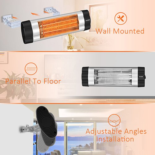 Wall Mounted Heater - 1500W Infrared Heater with Carbon Fiber Tube & Adjustable Thermostat Control, Easy To Install In Different Angles Infrared Patio Heater for Home Office Workshop Garage Indoor Use