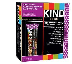 KIND PLUS, Pomegranate Blueberry Pistachio + Antioxidants, Gluten Free Bars, 1.4 Ounce, 12 Count
