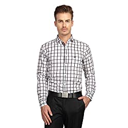 British Line White Color Checked Slim Fit Shirt