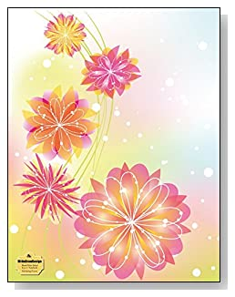 Pink Spring Flowers Notebook - Beautiful pink and yellow flowers against a colorful pastel background provide a sparkling Spring-like feel to the cover of this blank and wide ruled notebook with blank pages on the left and lined pages on the right.