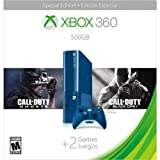 Xbox 360 500GB Special Edition Blue Console Bundle with Game Downloads of Call of Duty Ghosts and Call of Duty Black Ops 2
