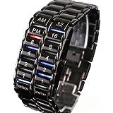 Men's Carbonized Steel Binary LED Wrist Watch, Black