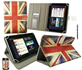 Emartbuy® Navy Blue Dual Function Stylus + Universal Range ( 8 - 9 Inch ) Union Jack Multi Angle Executive Folio Wallet Case Cover With Card Slots Suitable for Argos Bush MyTablet2 8 Inch