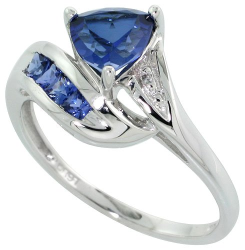 Revoni 9ct White Gold Trillion Ring, w/ Brilliant Cut Diamonds  &  Lab Created Dark Sapphire Stones, 3/8 in. (10mm) wide, Size H