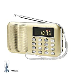 LEFON Mini Digital AM / FM Radio Media Speaker MP3 Music Player Support TF Card / USB Disk with LED Screen Display and Emergency Flashlight Function (Gold-Upgraded)