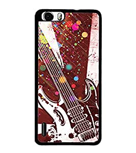 PrintDhaba Guitar D-3232 Back Case Cover for HUAWEI HONOR 6 (Multi-Coloured)