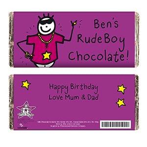 Wedding Gift List Rude : Personalised Purple Ronnie Rude Boy Chocolate Bar Great Gift for Boys ...