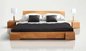 Lit bois massif design tokyo bas naturel 160x200 sans chevet