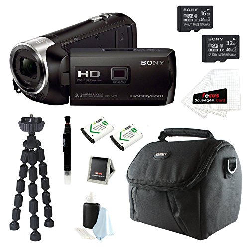 Sony Hdr-Pj275/B Hdrpj275 Pj275 8Gb Full Hd 60P Camcorder W/ Built-In Projector - Bundle With Sony16Gb And 32Gb Micro Sdhc Memory Card, Two Wasabi Power Batteries For Sony Np-Bx1, Video Camera Case, And Deluxe Accessory Kit