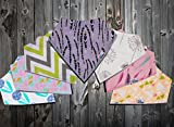 Premium Baby Bandana Drool Bibs with 3 Snaps by Ana Baby 7-Pack 100% Organic Cotton For Girls, Free Pacifier Clip+E book+Gift bag