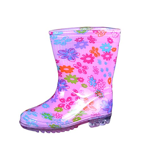 VICVIK Little Kid Flower Pink Rain Boot (Little Kid US10M) (Cute Girl Rain Boots compare prices)