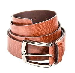 Quero Men's Wave Print Formal Belt (4006_Brown_Large)