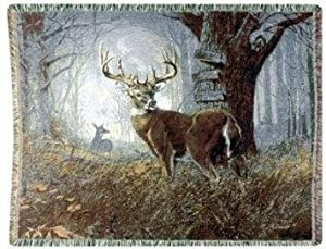 "Impending Challenge Deer Hunter Hunting Tapestry Throw Blanket 50"" x 70"" USA Made"