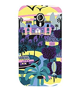 PrintVisa Colorful Beach Resort 3D Hard Polycarbonate Designer Back Case Cover for Micromax Canvas HD A116
