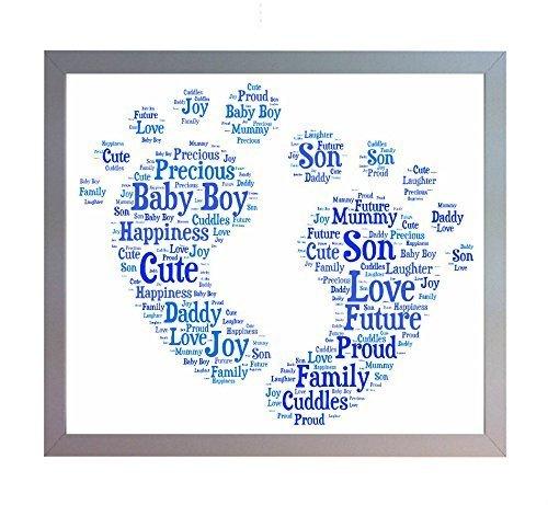 Con cornice, personalizzabile new baby boy impronta Word Art Stampa A4. Bambino portafoto Idea regalo per mamma, papà, fratello, sorella o famiglia. NEW Baby, Baby Shower Regalo.