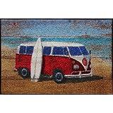 """Waschbare Fussmatte - Strandbus - Martin Wiscombe 47x73cm wash+dryvon """"WMK"""""""