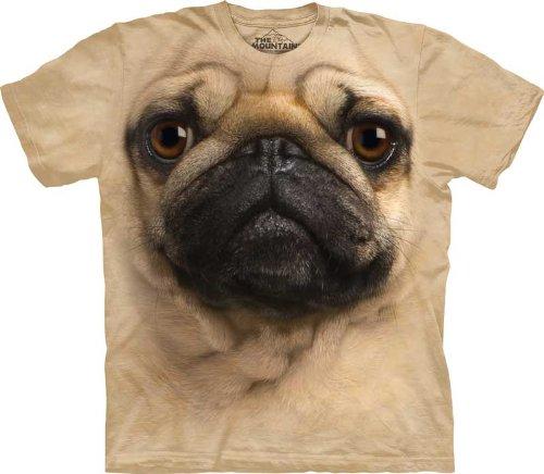 The Mountain Kids Pug Face T-Shirt, Large, Tan