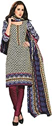 Tripssy Women's Cotton Printed Unstitched Salwar Suit (tr_dm_03, Beige And Orange)