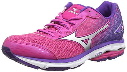 Mizuno Wave Rider 19, Scarpe da Corsa da Donna, Colore Rosa (Fuchsia Purple/Silver/Royal Purple), Taglia 5 UK (38 EU)