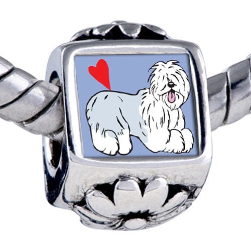 Pugster Bead Old English Sheepdog Animal Beads Fits Pandora Bracelet