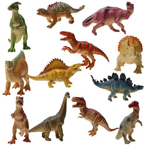 12pcs Figurines Dinosaures Assortis Monde Jurassique Plastique Sonore Animal Jouet Enfants Cadeau