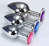 Stainless Steel Metal Plated Jeweled Butt Anal Plug Large + Medium + Small