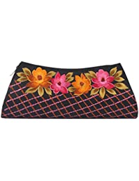 Soulful Threads Hand Clutch In Cotton Silk Fabric With Elegant Embroidery - B01N43SXJK