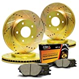 Max KT036063 Front + Rear Gold Slotted & Cross Drilled Rotors and Ceramic Pads Combo Brake Kit (F: 256mm / R: 258mm)