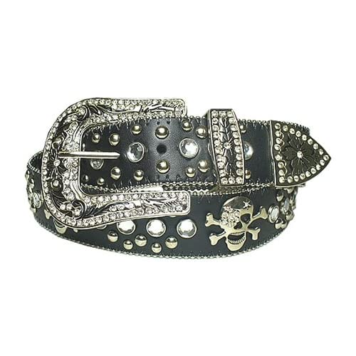 com New Black Rhinestone Studded Skull Leather Belt L 38 40 Clothing