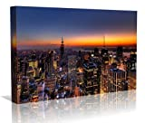 New York at Dusk Framed Canvas Art Print - Wall Art - Contempoary Art - Gallery Wrapped Framed Ready to Hang 16 inch x 24 inch