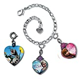 CHARM IT! FROZEN Anna & Elsa Crown Heart Charms & Olaf Locket Charm Bracelet Gift Pouch Set