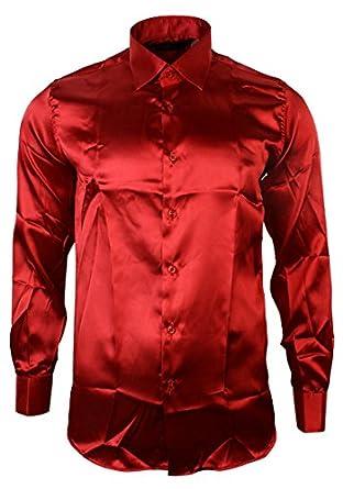 Mens italian design red silk satin finish shirt smart slim for Mens silk shirts amazon