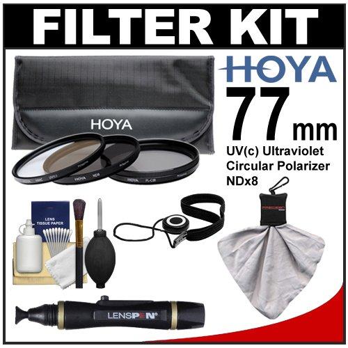 Hoya 77mm 3-Piece Digital Filter Set (HMC UV Ultraviolet, Circular Polarizer & ND8 Neutral Density) with Case + Cleaning Kit for Canon, Nikon, Sony, Olympus & Pentax Lenses