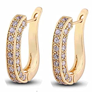 """Yazilind Charming Smooth Gold Plated """"U"""" Style Inlay Round Clear Cubic Zirconia Stud Earrings for Women"""