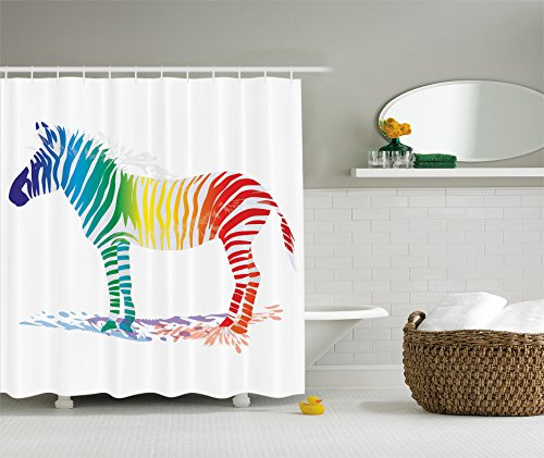 Funny Decor Collection, Zebra in Gradient Colored Stripes Nature Shady Pattern, Polyester Fabric Bathroom Shower Curtain Set with Hooks, Navy Red Yellow Green Blue Orange