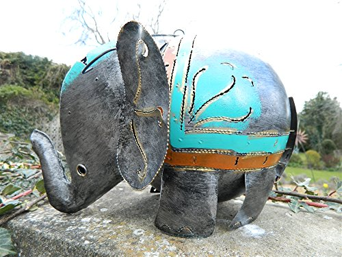 Elephant Tea Light Holder Metal Elephant Garden Lantern XL Silver Elephant 30cm. Tealight