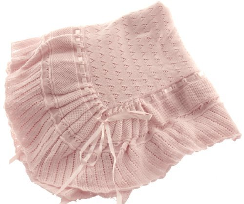 Pink Knit Shawl Blanket Baby Girl Feltman Brothers (Pink) front-405940