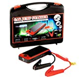 New Brights Compact 12000mAH Mini Portable Car Jump Starter - Power Bank - 400 Amps Battery Booster - Built-in LED Flashlight & Dual USB Device Charging Ports - with Carry Case