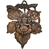 Divya Mantra Ganesha On Petal Wall Decorative In Antique Copper Finish