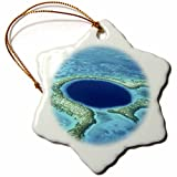 3dRose orn_85536_1 Blue Hole, Lighthouse Reef, Belize SA02 GJO0120 Greg Johnston Snowflake Ornament, Porcelain, 3-Inch