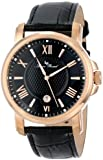 Lucien Piccard Men's LP-12358-RG-01 Cilindro Black Textured Dial Black Leather Watch
