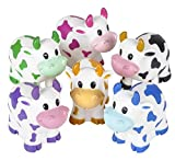 One Dozen Colorful Rubber Cows 2 Inches Long