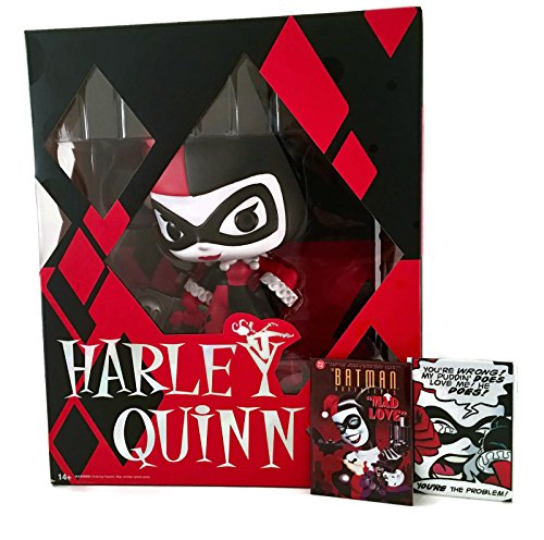 "Harley Quinn 10"" Super Deluxe from DC's Batman by Funko Bundled w/ 2 Harley Quinn Magnets"