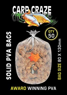 50 Solid Film Pva Bags 80 X 130 mm by Margin Tackle