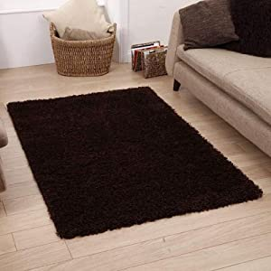 """Shaggy Rug Chocolate Brown 963 Plain 5cm Thick Soft Pile 60cm x 110cm (2ft x 3ft 7"""") Modern 100% Berclon Twist Fibre Non-Shed Polyproylene Heat Set - AVAILABLE IN 6 SIZES by Quality Linen and Towels by Quality Linen and Towels"""